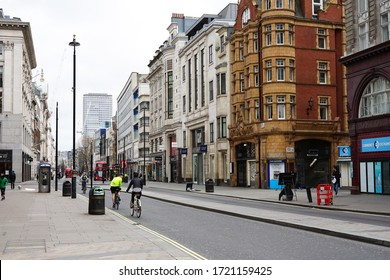 London, UK -March 2020: Desolated Oxford street during the Covid-19 lockdown. The usually busy area in central London is almost empty as people are staying at home to prevent the spread of the virus