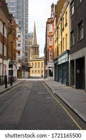 London, UK -March 2020: Empty street during the Covid-19 lockdown. The usually busy area in London is almost empty as people are staying at home to prevent the spread of the virus