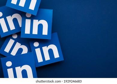 LONDON, UK - March 2021: Linkedin business social networking platform logo