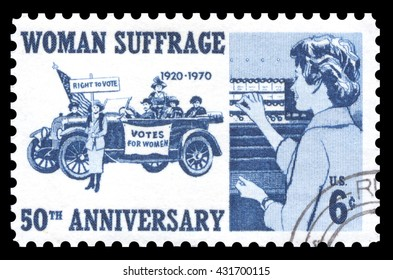 London, UK, March 22, 2012 - Vintage 1970 United States of America cancelled postage stamp  showing an image of a woman voting in the 1920's commemorating women's suffrage