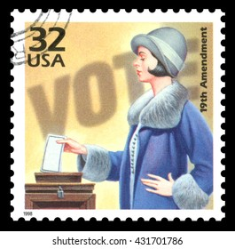 London, UK, March 22, 2012 - Vintage 1998 United States of America cancelled postage stamp  commemorating 50 years of the the women's suffrage movement