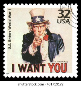 London, UK, March, 22, 2012 - Vintage 1998 United States of America cancelled postage stamp  showing an image of Uncle Sam from World War One  saying I want you