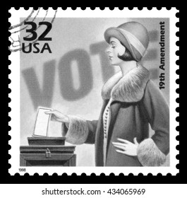 London, UK, March 22, 2012 - Vintage 1998 United States of America cancelled postage stamp  commemorating 50 years of the the women's suffrage movement black and white imag