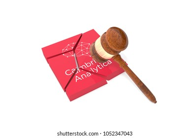 LONDON, UK - MARCH 22: Broken plate with Cambridge Analytica sign and a gavel.  Company is taken to court over data storage scandal. 3D Illustration.