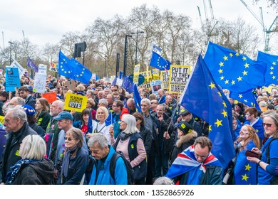 LONDON, UK - MARCH 23, 2019: Hundreds of thousands Remain campaign protesters join People's Vote March in central London demanding a vote on the final Brexit deal.