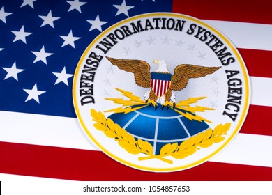 LONDON, UK - MARCH 26TH 2018: The symbol of the Defense Information Systems Agency portrayed with the US flag, on 26th March 2018.