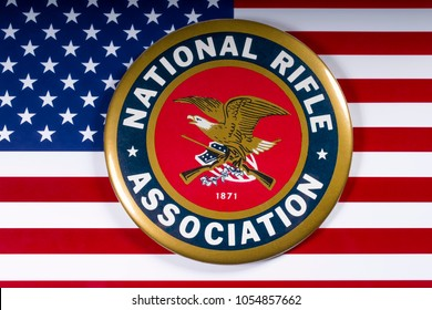 LONDON, UK - MARCH 26TH 2018: The symbol of the National Rifle Association portrayed with the US flag, on 26th March 2018.