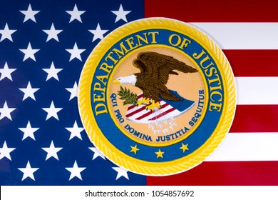 LONDON, UK - MARCH 26TH 2018: The symbol of the United States Department of Justice portrayed with the US flag, on 26th March 2018.