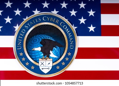 LONDON, UK - MARCH 26TH 2018: The symbol of the United States Cyber Command portrayed with the US flag, on 26th March 2018.