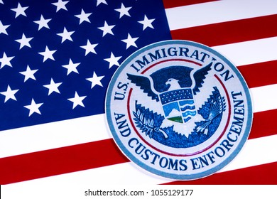 LONDON, UK - MARCH 26TH 2018: The symbol of US Immigration and Customs Enforcement portrayed with the US flag, on 26th March 2018.