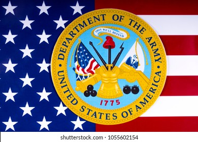 LONDON, UK - MARCH 26TH 2018: The seal of the Department of the Army, with the US flag, on 26th March 2018.  The DA is one of three military depts within the Department of Defense of the USA.