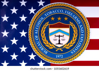 LONDON, UK - MARCH 26TH 2018: The seal or symbol of the Bureau of Alcohol, Tobacco, Firearms and Explosives, portrayed with the US flag, on 26th March 2018.