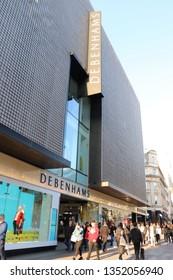 London, UK - March 27 2019: Debenhams store front on Oxford Street, London