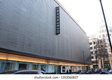 London, UK - March 27 2019: Debenhams Oxford Street London store front