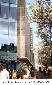 London, UK - March 27 2019: Debenhams Oxford Street London front view in spring time