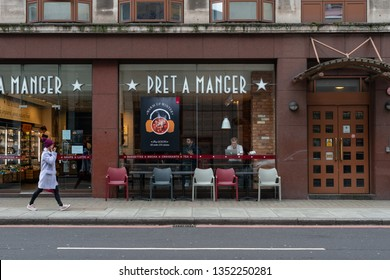 London, UK - March 27 2019: Pret A Manger exterior signage, British high street food chain