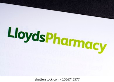 LONDON, UK - MARCH 27TH 2018: A close-up of the Lloyds Pharmacy logo on an information leaflet, on 27th March 2018.  Lloyds Pharmacy is a British pharmacy company.
