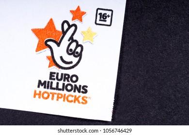 LONDON, UK - MARCH 27TH 2018: The logo of the Euro Millions Hotpicks - a lottery game operated by the Camelot Group, on 27th March 2018.
