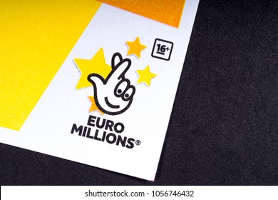 LONDON, UK - MARCH 27TH 2018: The logo of Euro Millions - the lottery game operated by the Camelot Group, on 27th March 2018.