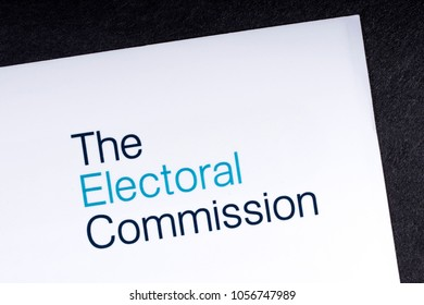 LONDON, UK - MARCH 27TH 2018: The Electoral Commission logo, on 27th March 2018.  The Electoral Commission is an independent body set up by Parliament to regulate party and election finances.