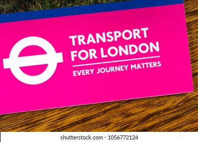 LONDON, UK - MARCH 27TH 2018: Transport for London logo on an information leaflet, on 27th March 2018.  TfL is a local government body responsible for the transport system in Greater London, England.