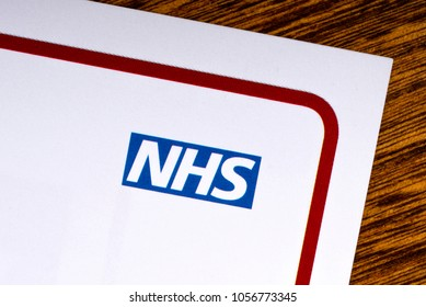 LONDON, UK - MARCH 27TH 2018: A close-up of the National Health Service logo on a lealfet, on 27th March 2018.  The NHS is the name used for each of the public health services in the UK.