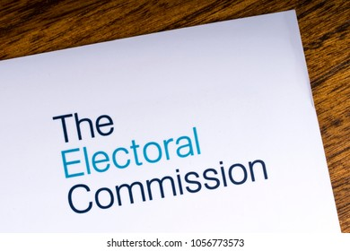 LONDON, UK - MARCH 27TH 2018: The Electoral Commission logo, on 27th March 2018.  The Electoral Commission is an independent body set up by the UK Parliament to regulate party and election finance.