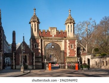 LONDON, UK - MARCH 28, 2012:  The entrance gate to Lincoln's Inn from Lincolns Inn Fields