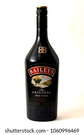 London, UK - March 28, 2018: Illustrative editorial of a bottle of bailey's Irish cream isolated on white with a clipping path cutout