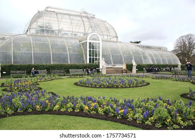 LONDON, UK - MARCH 28, 2018: Greenhouse at Kew Garden in spring on March 29, 2018 in London, UK.