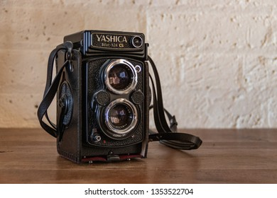 London / UK - March 29 2019: Yashica vintage cameral front view