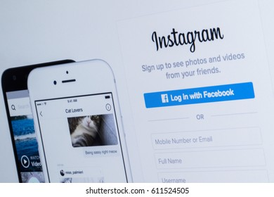 LONDON, UK - MARCH 29th 2017: Photograph of the Instagram website on a computer screen. Instagram is a popular social media application for sharing images and videos