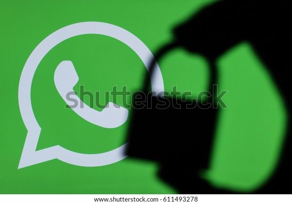 LONDON, UK - MARCH 29th 2017: Whatsapp security issues. Whatsapp is an instant messaging application for smartphone and computer users.