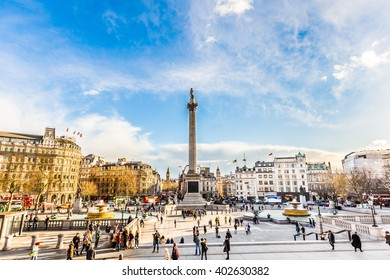 London, UK - March 3, 2016: View of Nelson Column in Trafalgar Square on March 3, 2016 in London. Monument built to commemorate Admiral Horatio Nelson, who died at Battle of Trafalgar in 1805