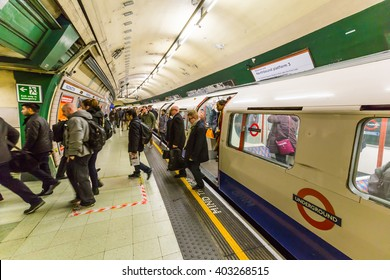 London, UK - March 3, 2016: The London underground also known as The Tube is the first subway ever built in the world and the largest, used by millions of commuters and tourists yearly