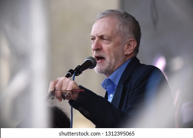 London, UK - March 4, 2017: Labour leader Jeremy Corbyn speaks at Parliament Square during a demo in support of the NHS. Thousands marched against spending cuts, hospital closures and privatisation.