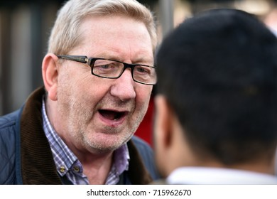 London, UK - March 4, 2017: Len McCluskey General Secretary of Unite the Union speaks to a reporter during an anti government rally in support of the NHS.