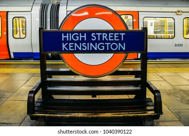 London, UK - March 4, 2018: London Underground sign for the High Street Kensington underground station on the platform to the District and Circle Lines