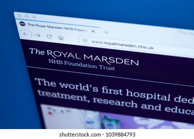 LONDON, UK - MARCH 5TH 2018: The homepage of the official website for The Royal Marsden NHS Foundation Trust, on 5th March 2018.  It is a specialist cancer treatment hospital in London.