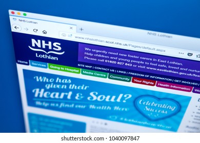 LONDON, UK - MARCH 5TH 2018: The homepage of the official website for NHS Lothian - one of the fourteen regions of NHS Scotland, on 5th March 2018.