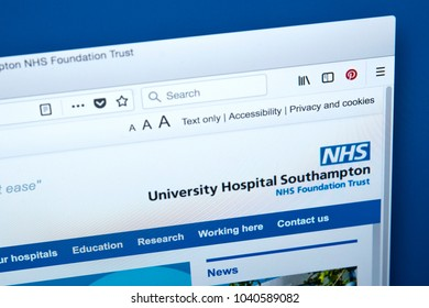 LONDON, UK - MARCH 5TH 2018: The homepage of the official website for the University Hospital Southampton NHS Foundation Trust, on 5th March 2018.