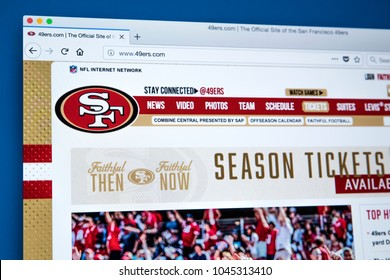 LONDON, UK - MARCH 5TH 2018: The homepage of the official website for the San Francisco 49ers - the professional American football team, on 5th March 2018.