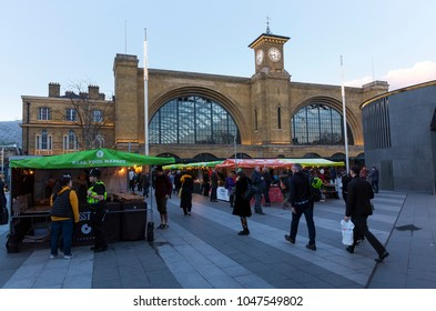 LONDON, UK - MARCH 7, 2018: General view of the Real Food Market outside King's Cross Railway station. The open air market has stalls sellling artisan food products three times a week.