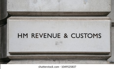 London, UK - March 7, 2018: HM Revenue and Customs sign