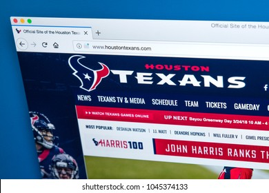 LONDON, UK - MARCH 7TH 2018: The homepage of the official website for the Houston Texans - the professional American football team, on 7th March 2018.