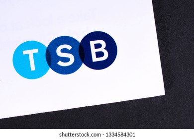 London, UK - March 7th 2019: The logo for TSB bank pictured on the corner of an information leaflet.