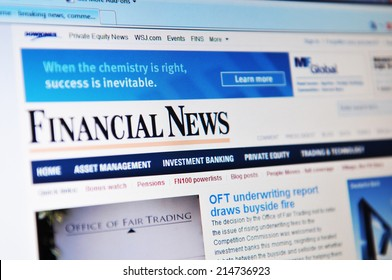 LONDON, UK - MARCH 8, 2011: Close up of financial news website with financial and business news on laptop screen