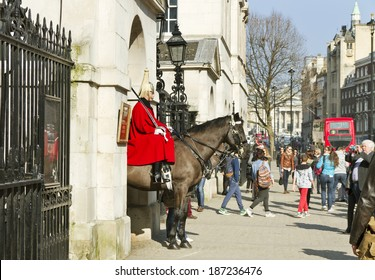 LONDON, UK -MARCH 9: Members of the Queen's Horse Guard on duty. Horse Guards Parade, London on March 9,  2014.
