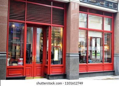 LONDON, UK - MART 04, 2018: Exterior Cafe Rouge on the street St. Paul's Churchyard, London.