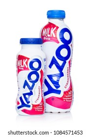 LONDON, UK - MAY 03, 2018: Plastic bottles of Yazoo strawberry drink on white.